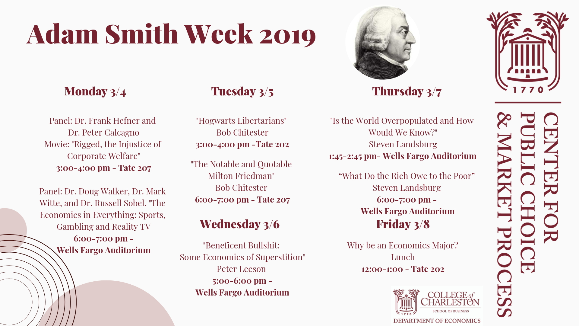 Adam Smith Week Calendar