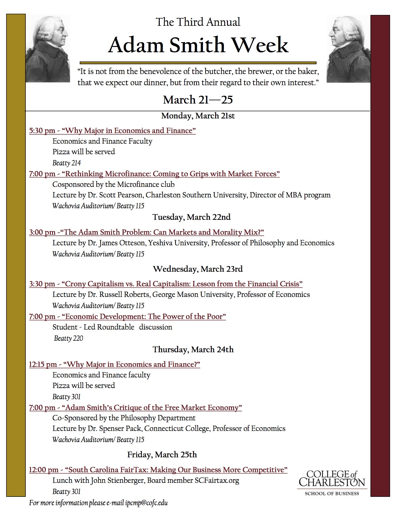 Adam Smith Week - College of Charleston